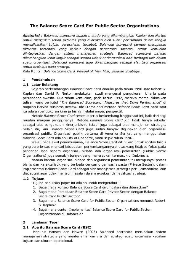 BALANCE SCORECARD FOR PUBLIC SECTOR ORGANIZATIONS