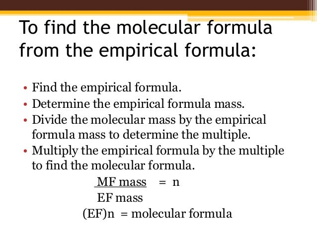 molecular formula Empirical formula - a chemical formula showing the ratio of elements in a compound rather than the total number of atoms want to thank tfd for its existence tell a friend about us, add a link to this page, or visit the webmaster's page for free fun content.