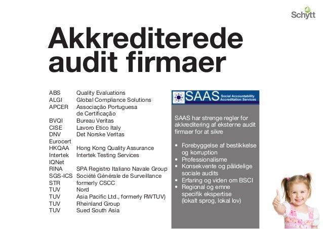 Akkrediterede audit firmaer ABS Quality Evaluations ALGI Global Compliance Solutions APCER Associação Portuguesa  de C...