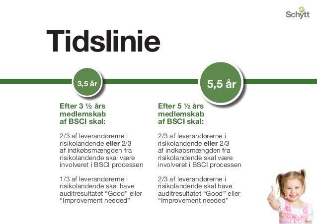 Tidslinie Kosmetik 76/768 3,5 år 5,5 år Efter 3 ½ års medlemskab af BSCI skal: 2/3 af leverandørerne i risikolandende elle...