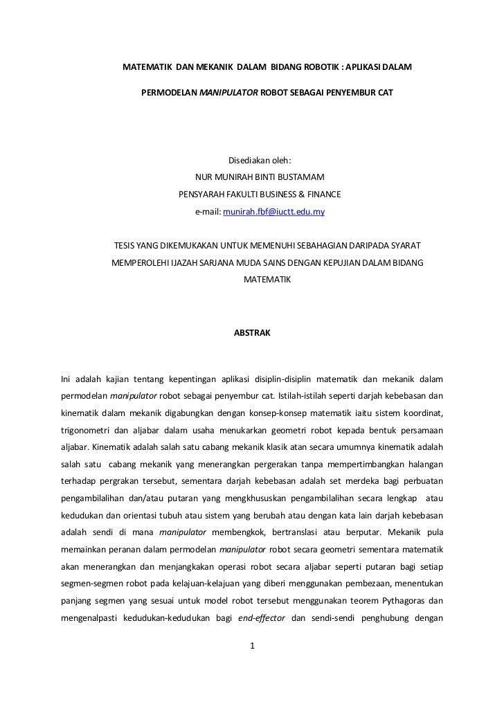 MATEMATIK DAN MEKANIK DALAM BIDANG ROBOTIK : APLIKASI DALAM                    PERMODELAN MANIPULATOR ROBOT SEBAGAI PENYEM...