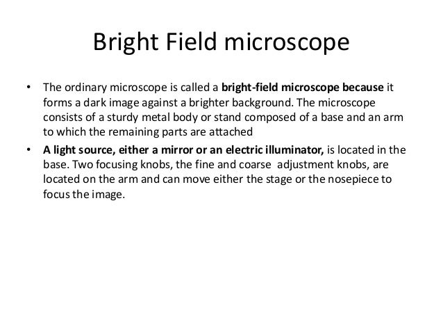 bright field microscopy principle and working
