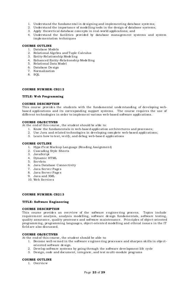 Bscs Course Description