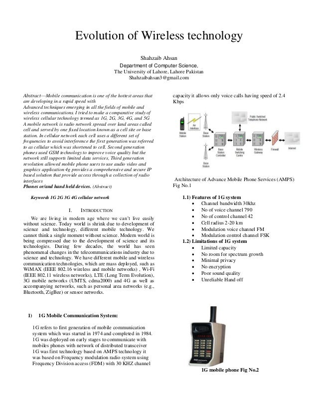 Evolution of Wireless technology Shahzaib Ahsan Department of Computer Science, The University of Lahore, Lahore Pakistan ...
