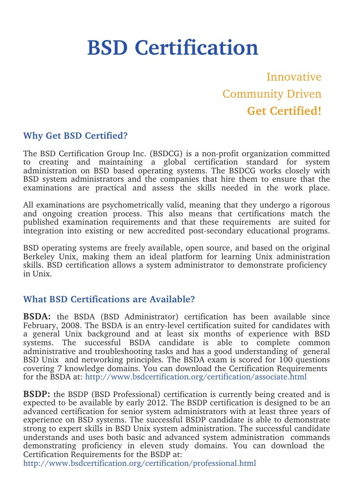 BSD Certification                                                            Innovative                                   ...