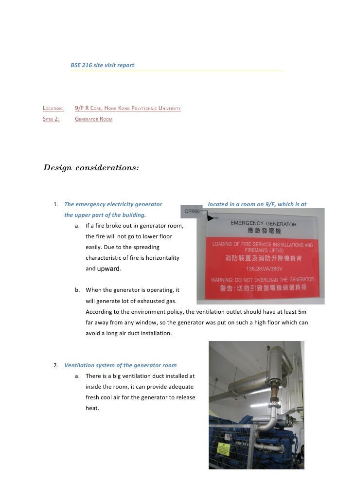 BSE 216 site visit report     LOCATION:       9/F R CORE, HONG KONG POLYTECHNIC UNIVERSITY SITES 2:        GENERATOR ROOM ...