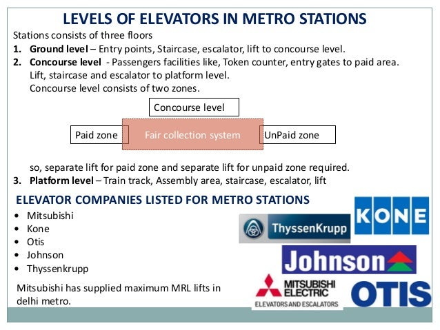 ELEVATOR SYSTEM IN DELHI METRO STATIONS