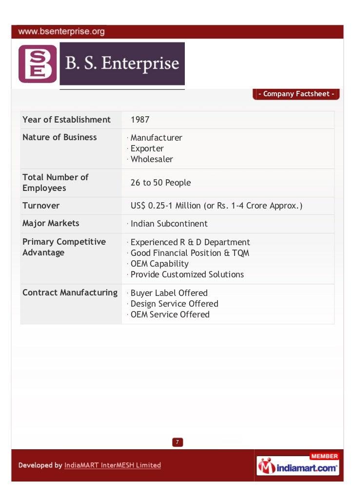 - Company Factsheet -Year of Establishment    1987Nature of Business       Manufacturer                         Exporter  ...