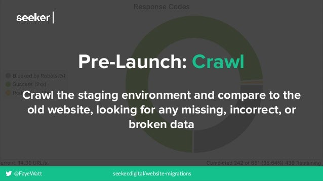 @FayeWatt seeker.digital/website-migrations Pre-Launch: Crawl Crawl the staging environment and compare to the old website...