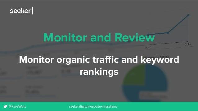 @FayeWatt seeker.digital/website-migrations Monitor and Review Monitor organic traffic and keyword rankings