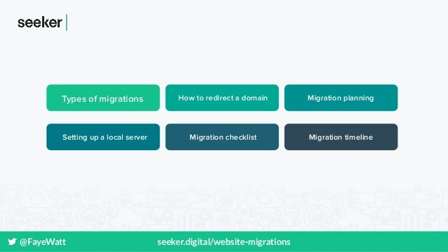 @FayeWatt seeker.digital/website-migrations Types of migrations How to redirect a domain Migration planning Setting up a l...