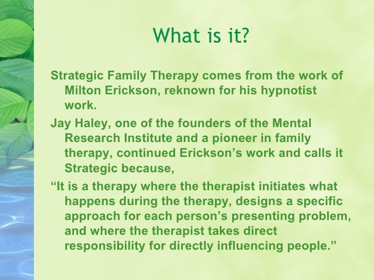 Brief Strategic Family Therapy: An Intervention to Reduce Adolescent Risk Behavior