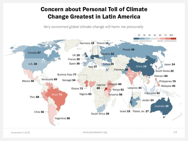 Concern about Personal Toll of Climate Change Greatest in Latin America November 5, 2015 www.pewresearch.org 14 Very conce...