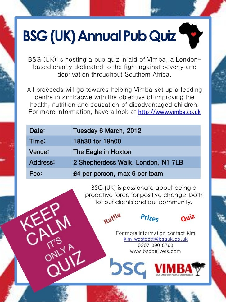 BSG (UK) Annual Pub QuizBSG (UK) is hosting a pub quiz in aid of Vimba, a London- based charity dedicated to the fight aga...