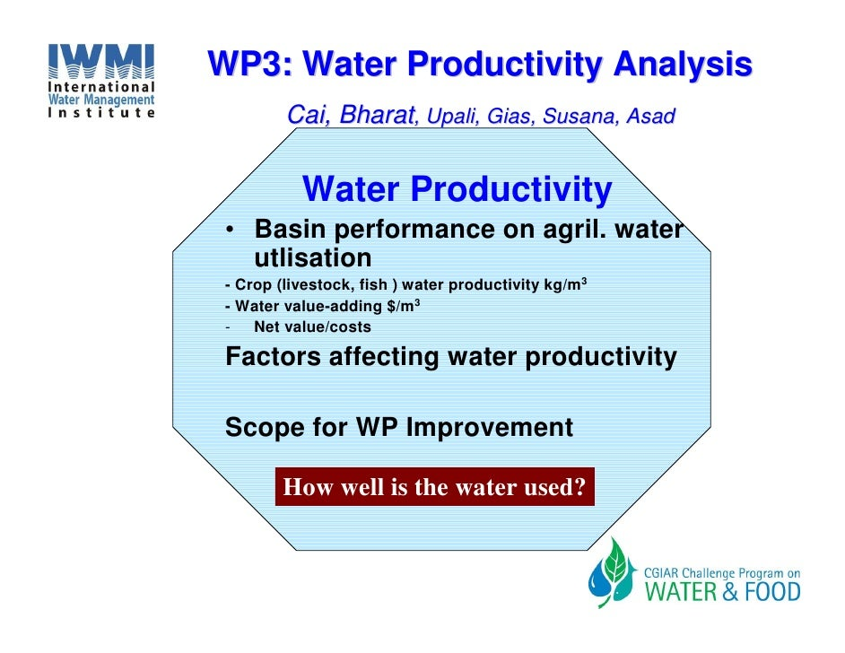 WP3: Water Productivity Analysis          Cai, Bharat, Upali, Gias, Susana, Asad              Water Productivity  • Basin ...