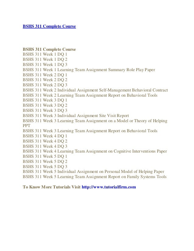 BSHS 312 Week 3 Team Assignment Behavioral Cognitive Tools Beck Depression Inventory