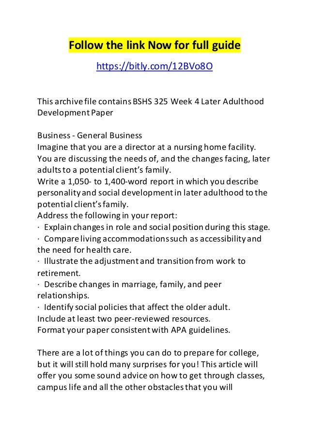 Cognitive Development in Late Adulthood Essay Sample