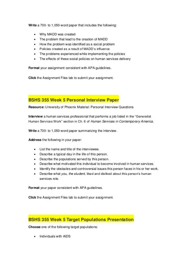 bshs 355 personal interview paper Bshs 345 week 5 strength based approaches powerpoint  bshs 345 week 3 reflective paper $699 $599  bshs 345 week 1 personal exploration worksheet.