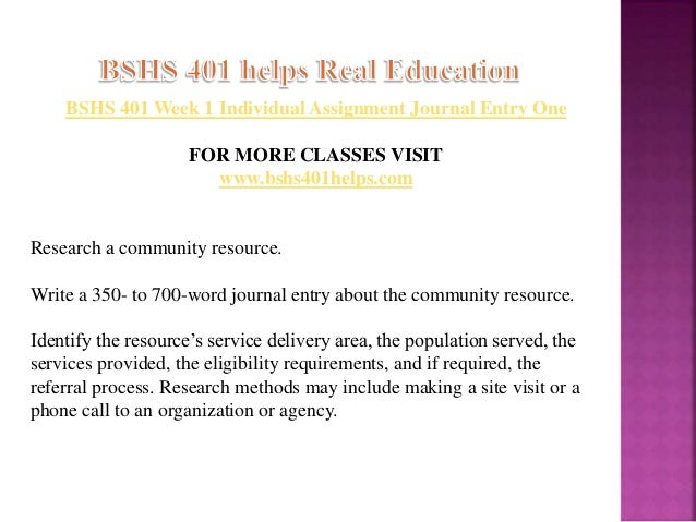 bshs 401 journal entry about the community resource For more course tutorials visit wwwtutorialrankcom tutorial purchased: 3 times, rating: a+ individual: observation journal in week.