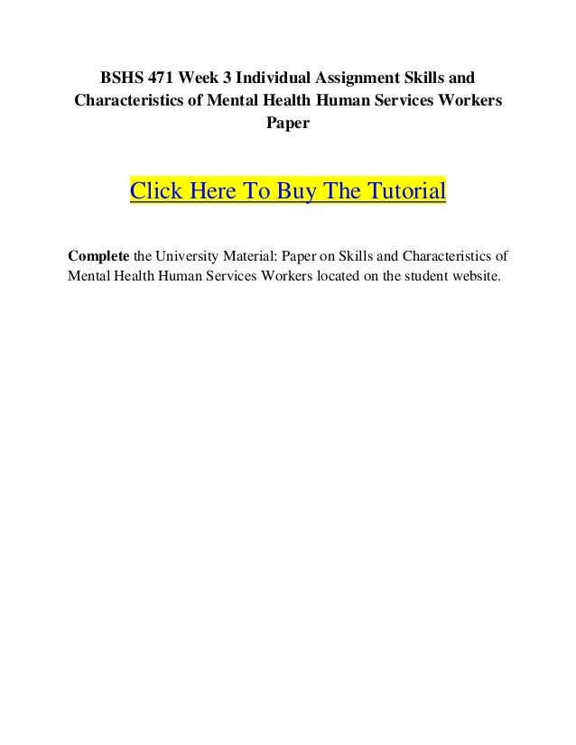 Skills & Characteristics of Mental Health Human Services Workers