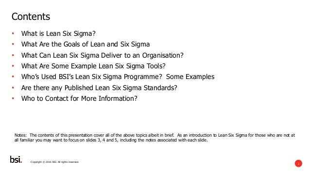 BSI - A  Short Introduction to Process Excellence and Lean Six Sigma Slide 2