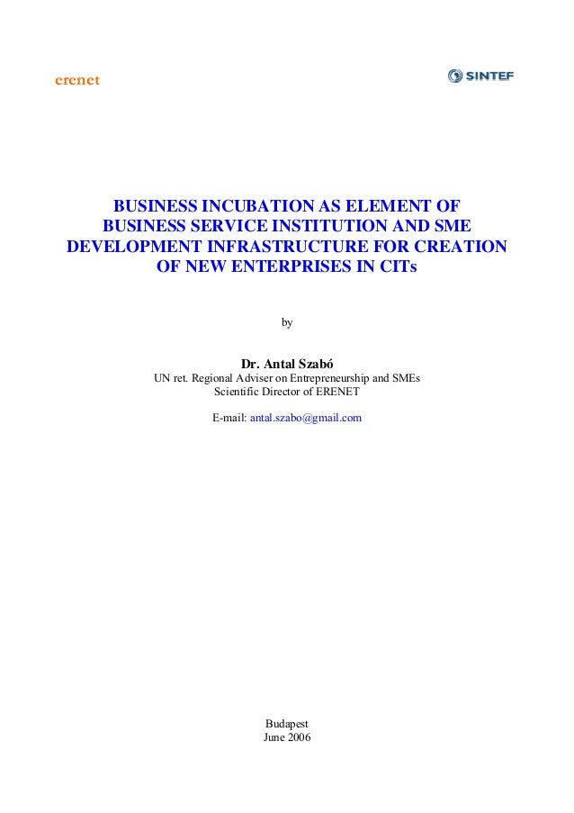 erenet     BUSINESS INCUBATION AS ELEMENT OF    BUSINESS SERVICE INSTITUTION AND SME DEVELOPMENT INFRASTRUCTURE FOR CREATI...