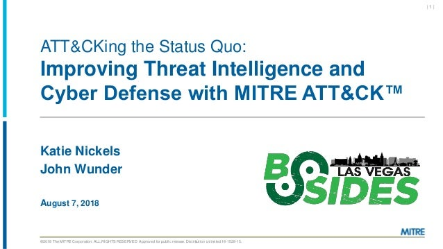 ©2018 The MITRE Corporation. ALL RIGHTS RESERVED Approved for public release. Distribution unlimited 18-1528-15. ATT&CKing...