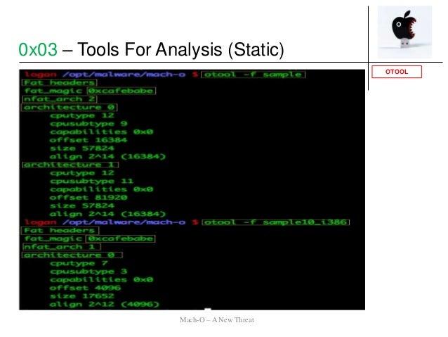 OTOOL 0x03 – Tools For Analysis (Static) Mach-O – A New Threat