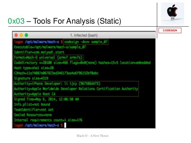 CODESIGN 0x03 – Tools For Analysis (Static) Mach-O – A New Threat