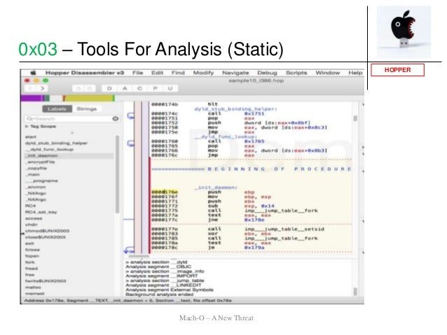 HOPPER 0x03 – Tools For Analysis (Static) Mach-O – A New Threat