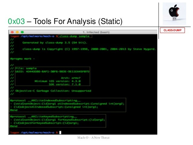 CLASS-DUMP 0x03 – Tools For Analysis (Static) Mach-O – A New Threat