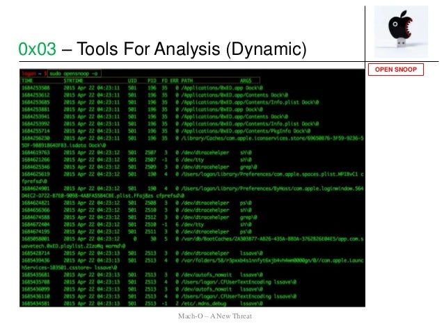 OPEN SNOOP 0x03 – Tools For Analysis (Dynamic) Mach-O – A New Threat