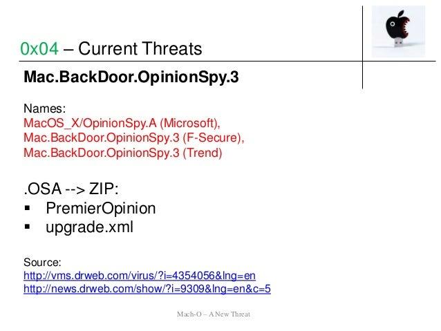 Mac.BackDoor.OpinionSpy.3 Names: MacOS_X/OpinionSpy.A (Microsoft), Mac.BackDoor.OpinionSpy.3 (F-Secure), Mac.BackDoor.Opin...