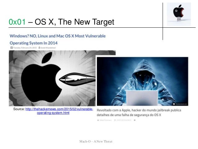 Source: http://thehackernews.com/2015/02/vulnerable- operating-system.html Mach-O – A New Threat 0x01 – OS X, The New Targ...