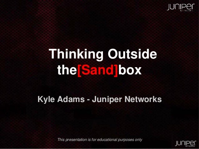 Thinking Outside the Sand[box]