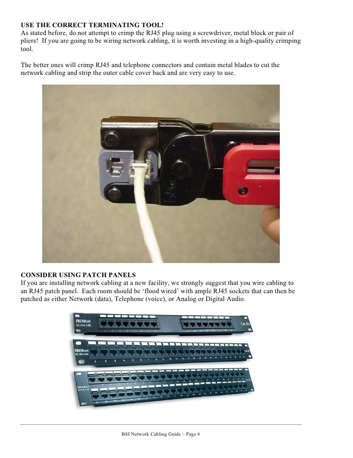 network cabling guide cat cat cat crossover cable end bsi network cabling guide page 5 6