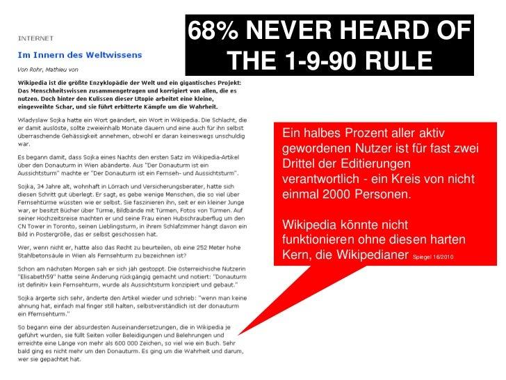 68% NEVER HEARD OF THE 1-9-90 RULE<br />Ein halbes Prozent aller aktiv gewordenen Nutzer ist für fast zwei Drittel der Edi...