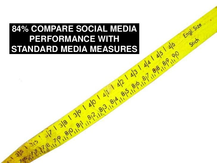 84% COMPARE SOCIAL MEDIA PERFORMANCE WITH STANDARD MEDIA MEASURES<br />