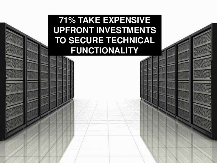 71% TAKE EXPENSIVE UPFRONT INVESTMENTS TO SECURE TECHNICAL FUNCTIONALITY<br />