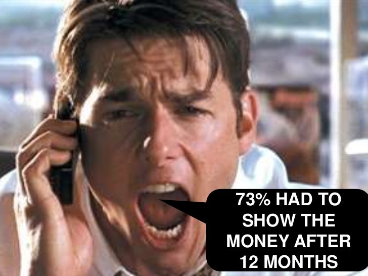 Show me the money!<br />73% HAD TO SHOW THE MONEY AFTER    12 MONTHS<br />