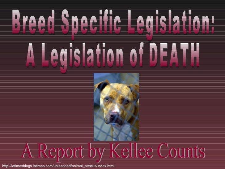 Breed Specific Legislation:  A Legislation of DEATH A Report by Kellee Counts http://latimesblogs.latimes.com/unleashed/an...