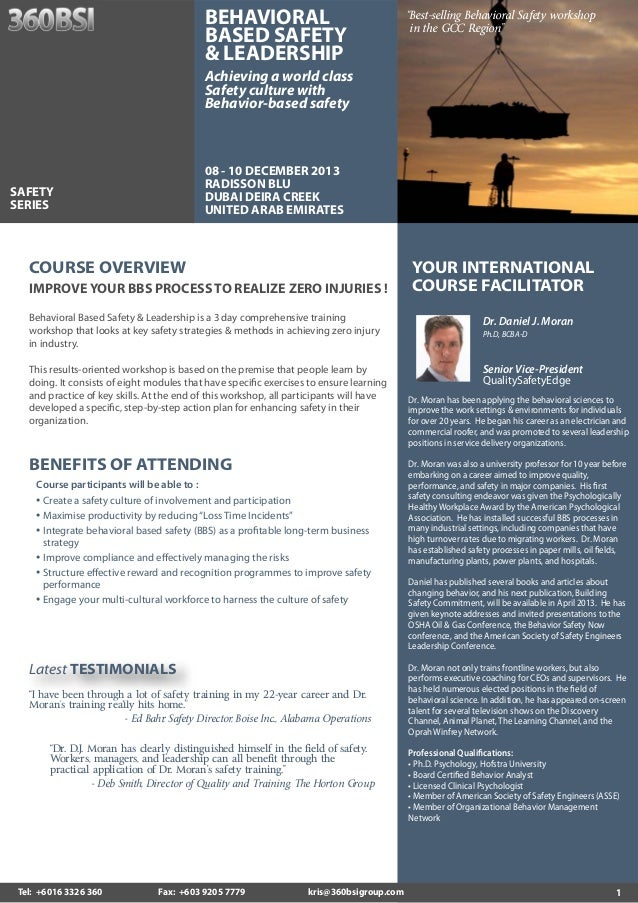 """BEHAVIORAL BASED SAFETY & LEADERSHIP  """"Best-selling Behavioral Safety workshop in the GCC Region""""  Achieving a world class..."""