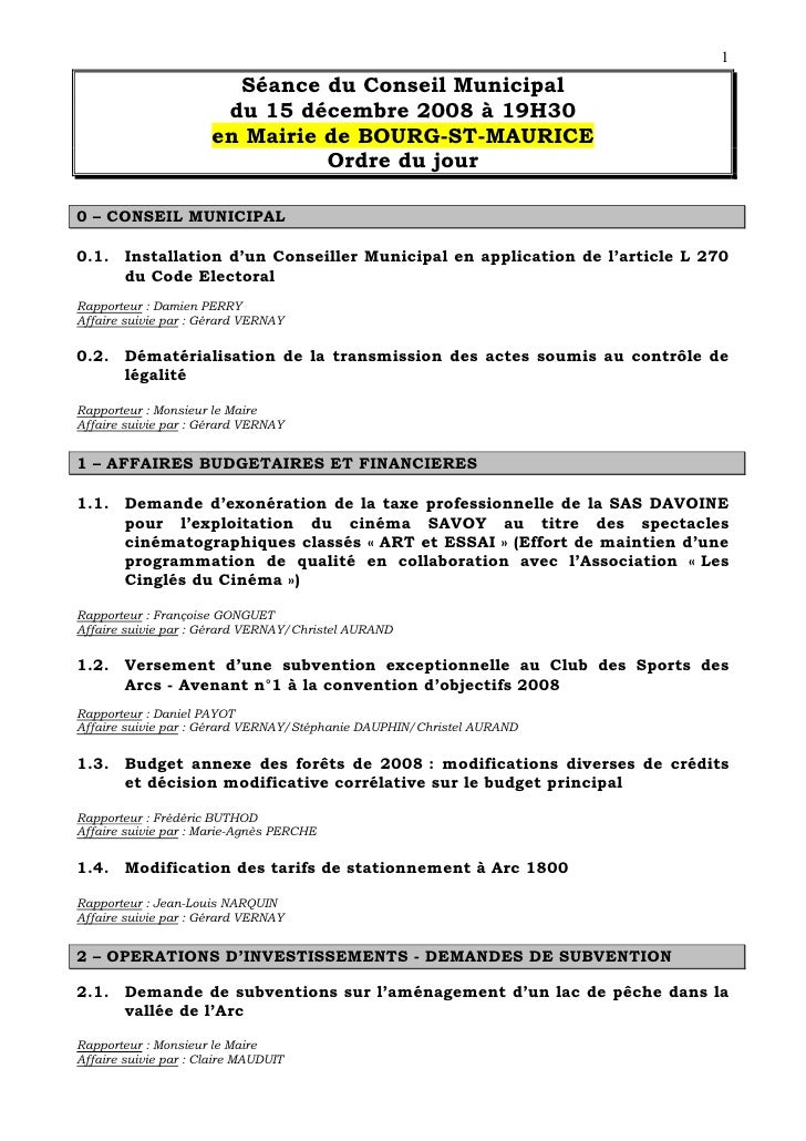 1                         Séance du Conseil Municipal                        du 15 décembre 2008 à 19H30                  ...
