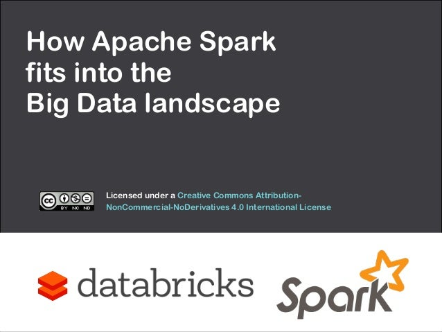 How Apache Spark  fits into the  Big Data landscape  Licensed under a Creative Commons Attribution-  NonCommercial-NoDeriv...