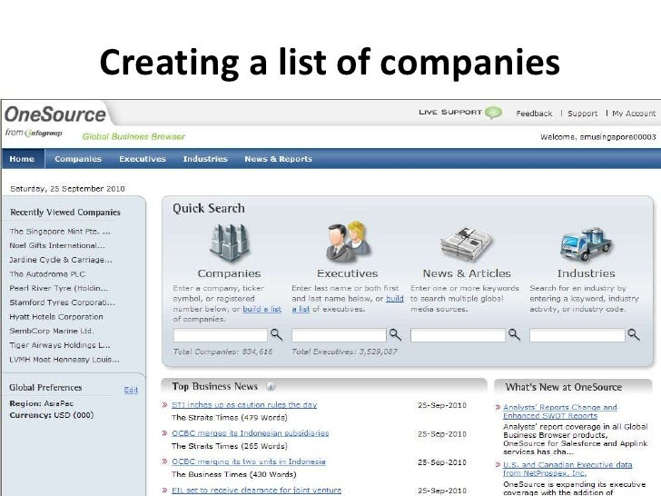 Creating a list of companies<br />