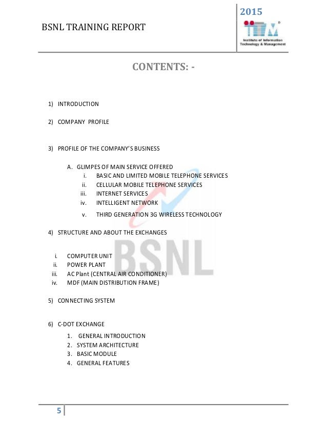 BSNL Training Report file