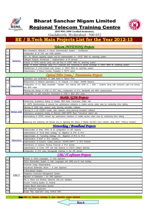 Captivating BE / B.Tech Main Projects List For The Year 2012 13 Telecom SWITCH