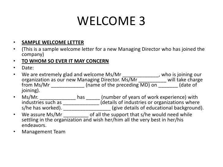 How to write a welcome letter to a guest images letter format how to write welcome letter to new employee image collections how to write a welcome letter altavistaventures Images
