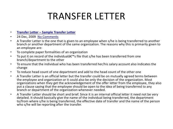 85 SAMPLE OF LETTER OF INTENT TO TRANSFER TO OTHER