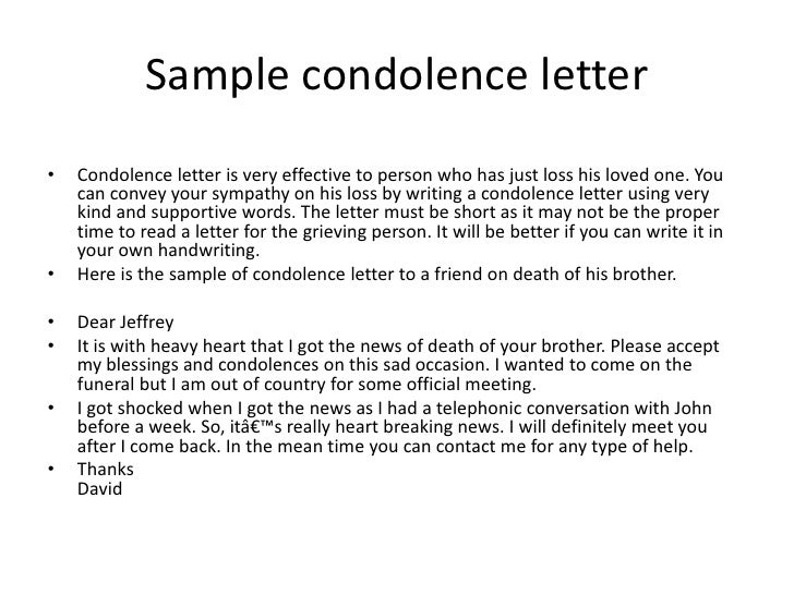 Bsnsletters – Formal Condolences Letter